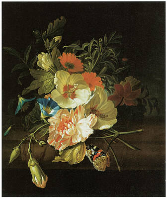A Carnation Morning Glory With Other Flowers Poster by Rachel Ruysch
