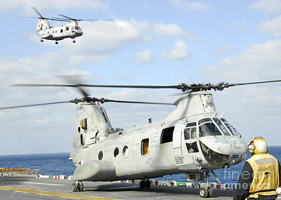 A Ch-46e Sea Knight Helicopter Takes Poster by Stocktrek Images