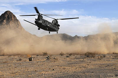 A Ch-47 Chinook Prepares To Land Poster by Stocktrek Images