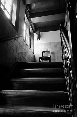 A Chair At The Top Of The Stairway Bw Poster