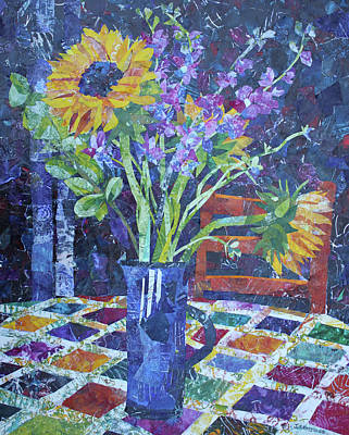 A Chair To View Sunflowers Poster