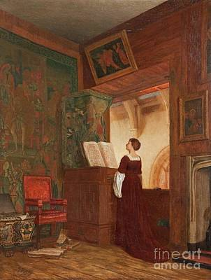 A Chapel Interior With An Elegant Lady Playing The Virginal Poster by MotionAge Designs