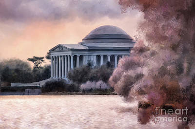 Poster featuring the digital art A Cherry Blossom Dawn by Lois Bryan