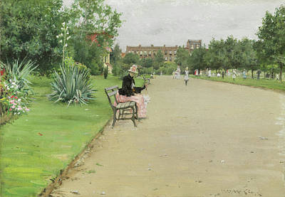 A City Park Poster by William Merritt Chase