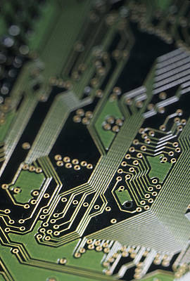 A Close View Of A Silicon Circuit Board Poster