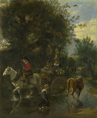 A Cowherd Passing A Horse And Cart In A Stream Poster by Jan Siberechts
