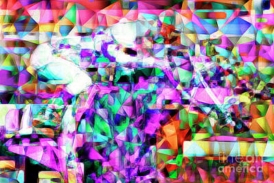 A Day At The Horse Race Track In Abstract Cubism 20170329 Poster by Wingsdomain Art and Photography