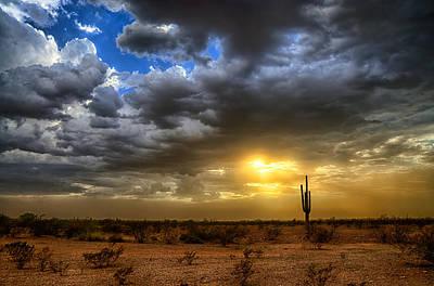 A Desert Storm Sunset  Poster by Saija  Lehtonen