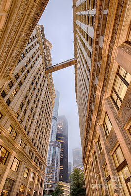 A Different Perspective Of The Wrigley Building And Trump Tower Playing Hide And Seek - Chicago Poster