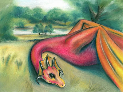 Poster featuring the pastel A Dragon In Cheshire by MM Anderson