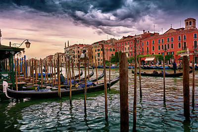 Vintage Buildings And Dramatic Sky, A Dreamlike Seascape In Venice Poster