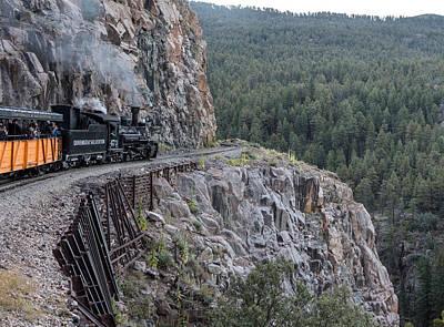 A Durango And Silverton Narrow Gauge Scenic Railroad Train Along A San Juan Mountains Precipice Poster by Carol M Highsmith