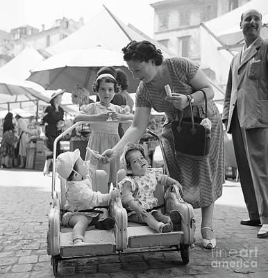 A Family With Infants At An Open Air Market In Rome, 1955 Poster