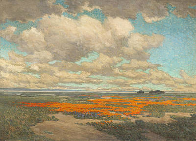 A Field Of California Poppies Poster by Granville Redmond