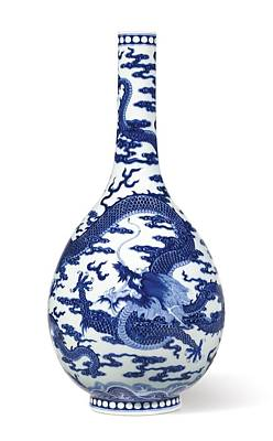 A Fine Blue And White 'dragon' Bottle Vase Qing Dynasty, Qianlong Period Poster by Celestial Images