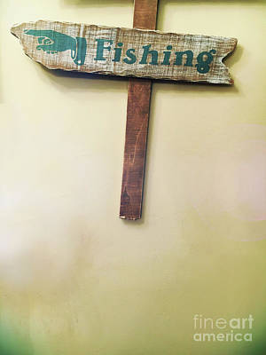 A Fishing Sign Poster by Tom Gowanlock