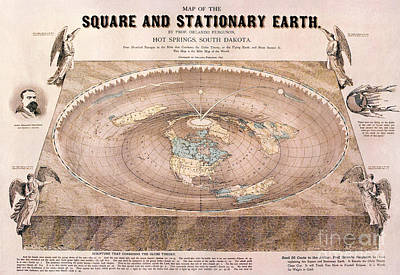 A Flat-earth Map Poster by Celestial Images