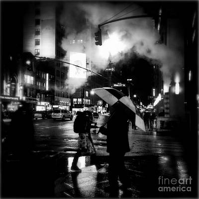 A Foggy Night In New York Town - Checkered Umbrella Poster by Miriam Danar