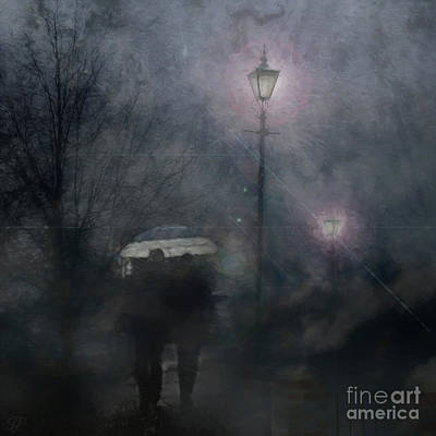 Poster featuring the photograph A Foggy Night Romance by LemonArt Photography
