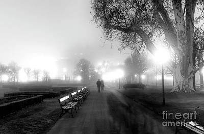 A Foggy Walk In Vienna Poster by John Rizzuto