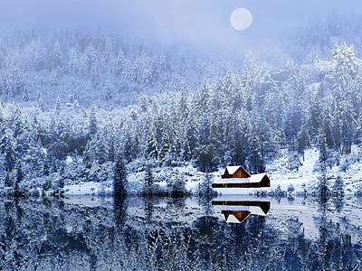 Poster featuring the photograph A Foggy Winter Night by Diane Schuster