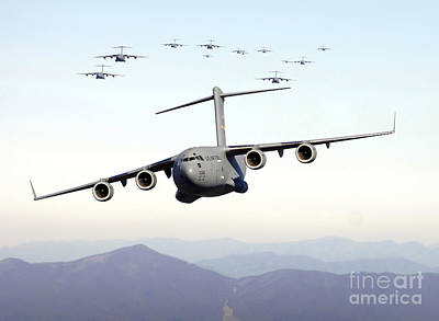 A Formation Of 17 C-17 Globemaster IIis Poster by Stocktrek Images