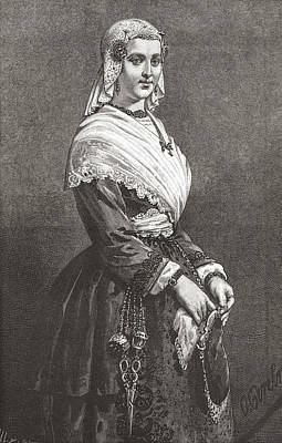 A Friesland Lady In Typical Dress From Poster