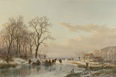 A Frozen Canal In The Meuse Poster by Andreas Schelfhout