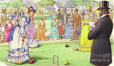 A Game Of Croquet At The All England Club At Wimbledon Poster by Pat Nicolle