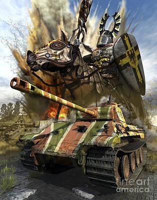 A German Panzer V Medium Tank Poster by Kurt Miller