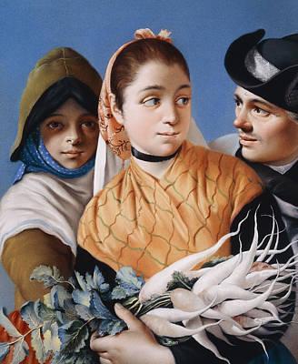 A Girl In An Orange Shawl Holding Turnips Poster by Lorenzo Baldissera Tiepolo