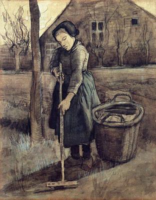 A Girl Raking, 1881 Poster by Vincent Van Gogh