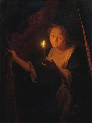 A Girl With A Candle Drawing Aside A Curtain Poster