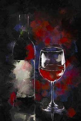 A Glass Of Red Poster by Peggy Kahan