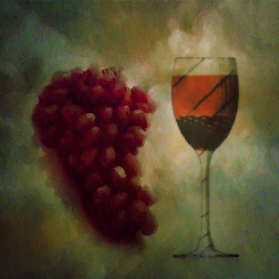 A Glass Of Red Wine Poster by Bill Cannon