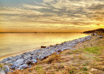 A Golden Choctawhatchee Bay Sunset In Florida  Poster by Kay Brewer