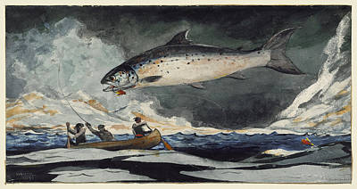 Poster featuring the painting A Good Pool. Saguenay River by Winslow Homer