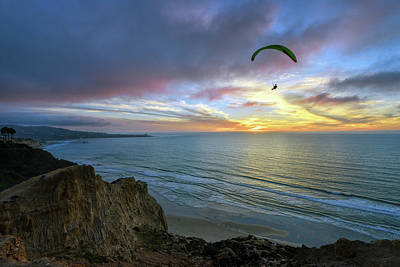 A Hang Glider And A Sunset Poster by Mark Whitt