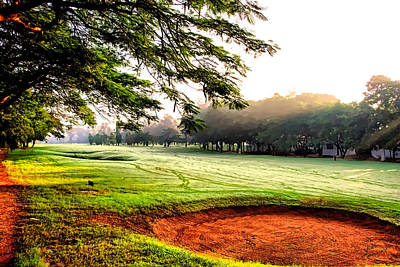Poster featuring the photograph A Hazy Morning For Golf by Kathy Tarochione