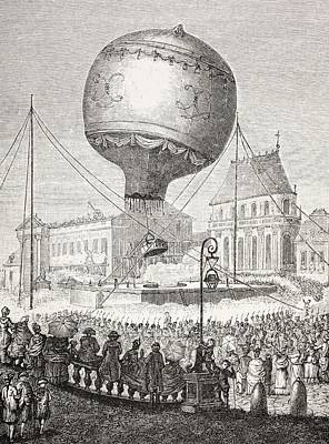 A Hot Air Balloon Ascends In Paris Poster