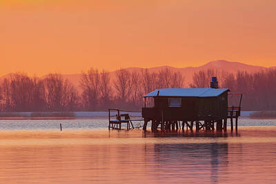Poster featuring the photograph A Hut On The Water by Davor Zerjav