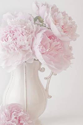 A Jug Of Soft Pink Peonies Poster by Sandra Foster