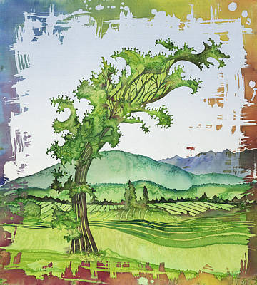 A Kale Leaf Visits The Country Poster by Carolyn Doe
