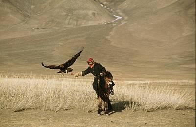 A Kazakh Falconer Hunts His Golden Poster by David Edwards