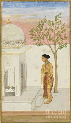 a Lady Going to Worship at a Lingam Shrine Poster by Celestial Images