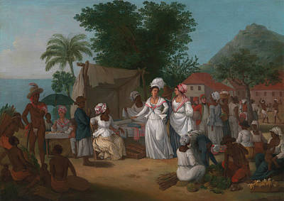 A Linen Market With A Linen Poster by Agostino Brunias