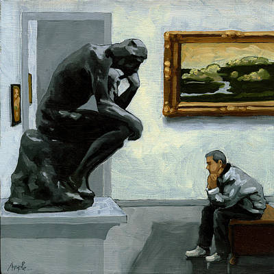 A Lot To Think About - Oil Painting Poster by Linda Apple