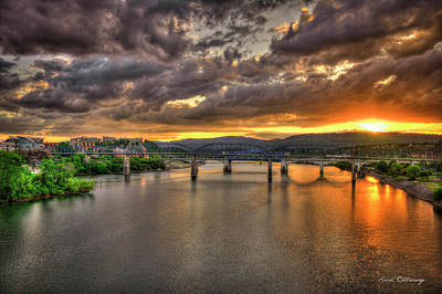 A Majestic View Chattanooga Bridges Sunset Art Poster by Reid Callaway