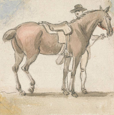 A Man And A Saddled Horse Poster by Paul Sandby