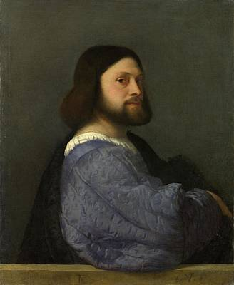 A Man With A Quilted Sleeve, By Titian Poster